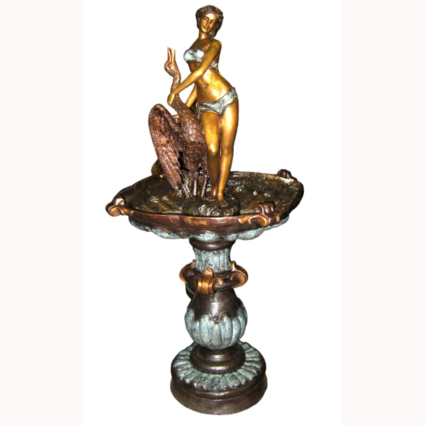 Bronze Lady with Swan Fountain