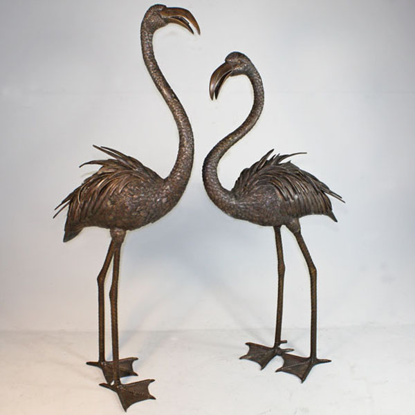 pair of bronze flamingo fountain. Black Bedroom Furniture Sets. Home Design Ideas