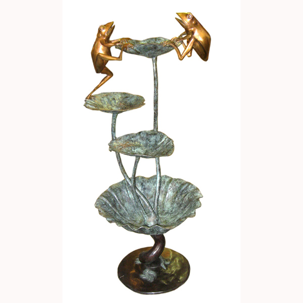 Bronze Frog with Lotus Leaf