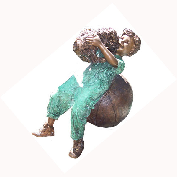 Bronze Boy on Ball with Puppy