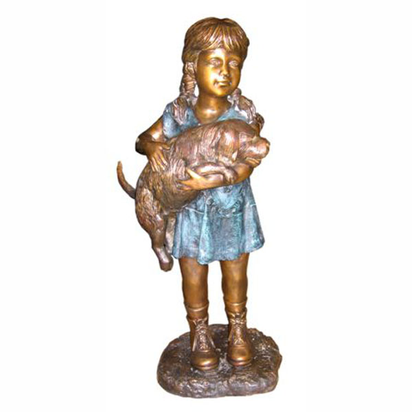 Bronze Girl holding a Dog