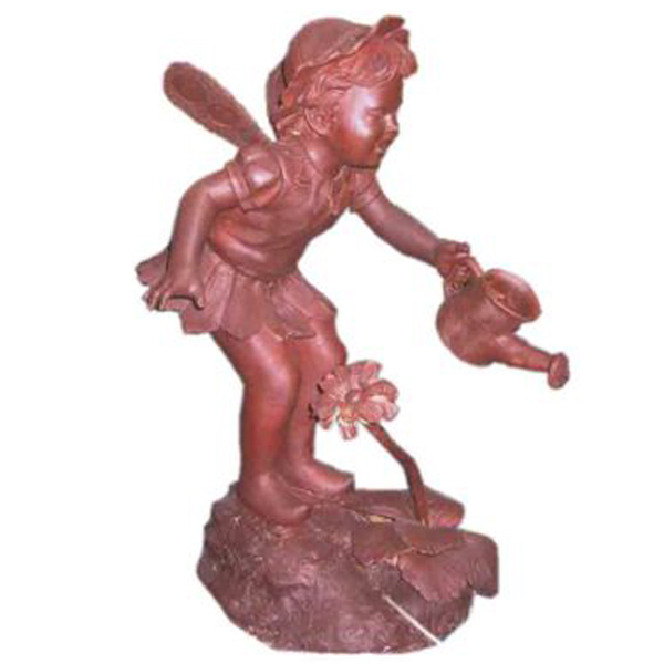 Bronze Girl with wings watering a Flower