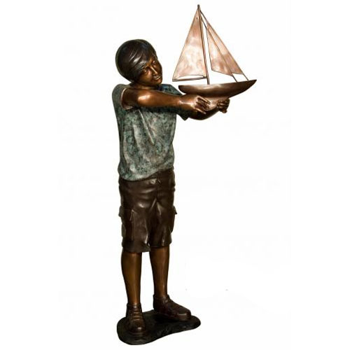 Bronze Kid with the boat