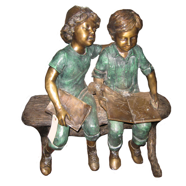 Bronze Children on Bench