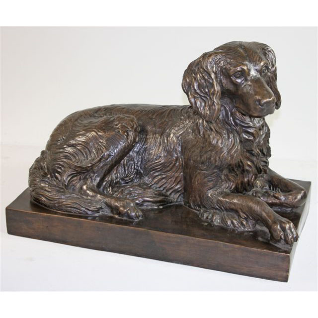 Bronze Laying Dog with Base