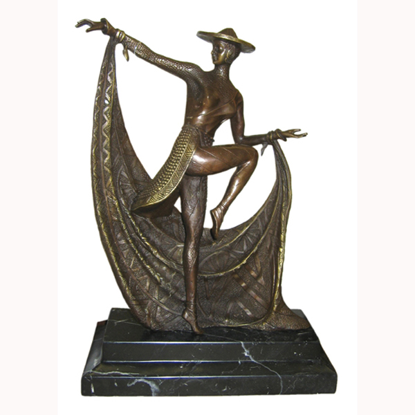 Bronze Deco Dancer with Marble Base