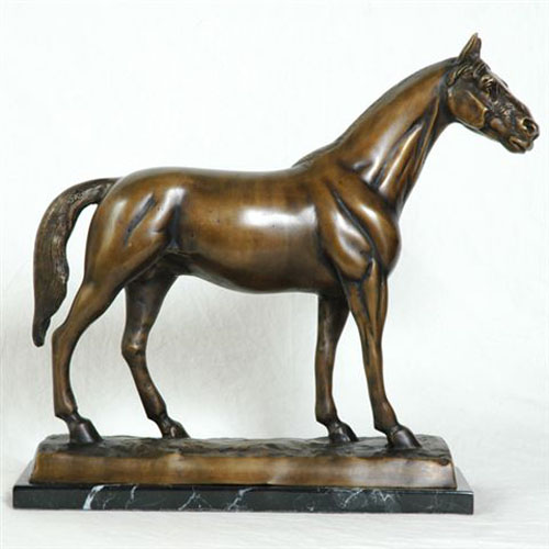 Bronze Horse with Marble Base