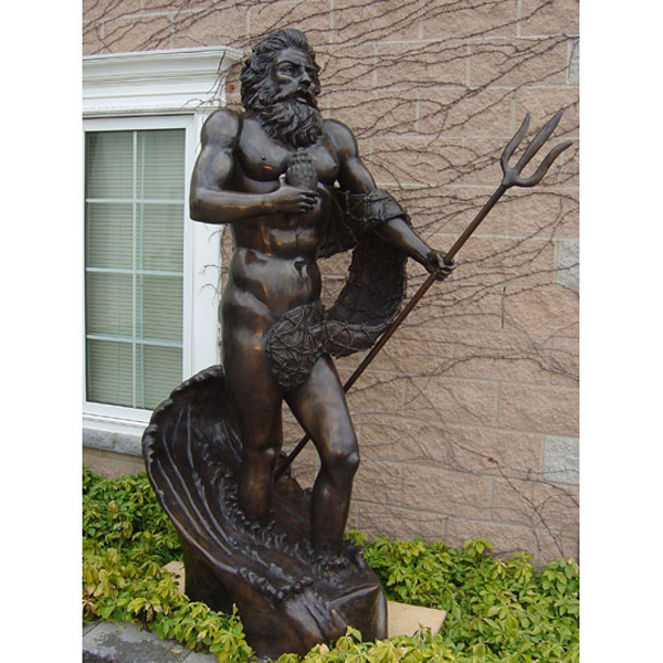 Bronze Neptune with Fishing Net