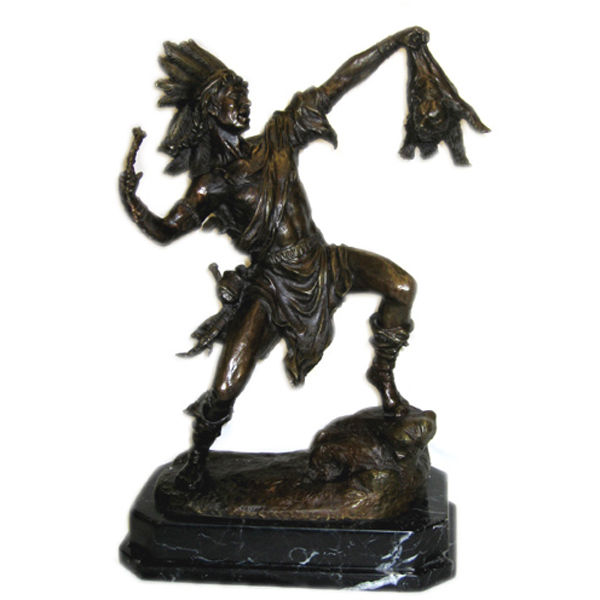 Bronze Indian with Marble Base