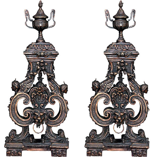Bronze Pair Lion Face Andirons (pair)