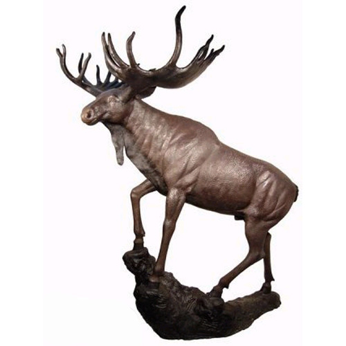 Bronze Moose standing on a Rock