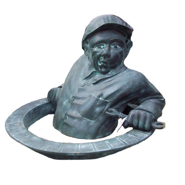 "Bronze "" Utility worker in a Man-hole """