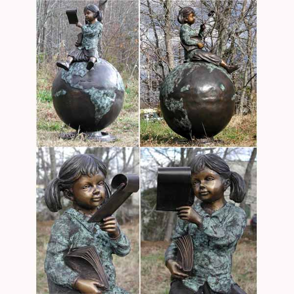 Bronze Girl sitting on a Globe Reading