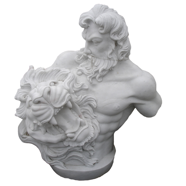 Marble Hercules Bust with Lion Head
