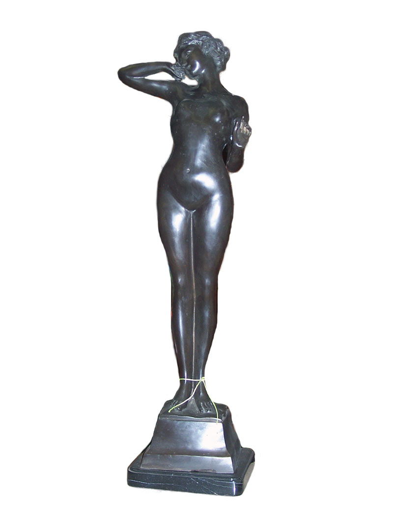 Bronze Nude Girl on Marble Base