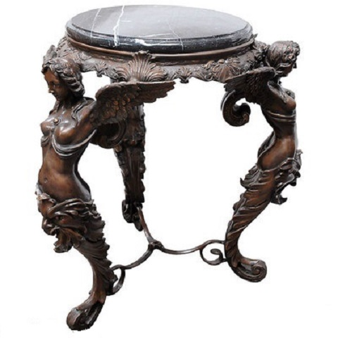 Bronze Three Ladies Table with Marble Top