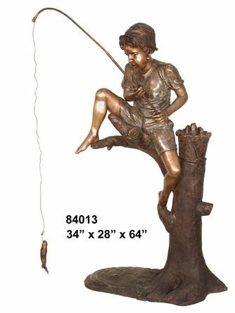 Bronze Boy Fishing on Tree