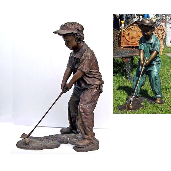 Bronze Boy Golfer, Outdoor Golf Statues