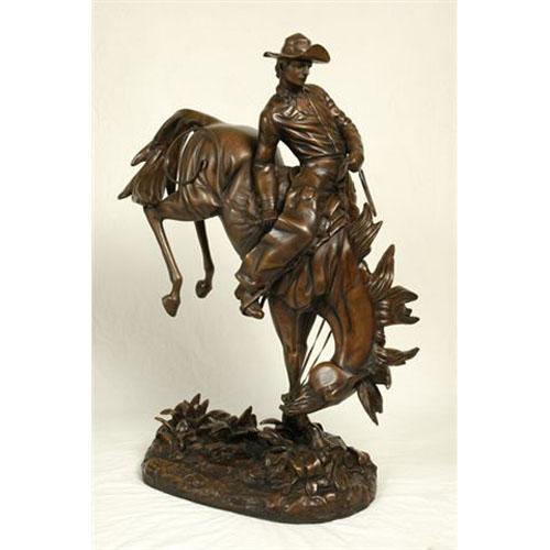 Bronze Cowboy On Horse Sculpture